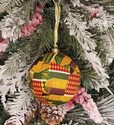 Kente African Ornaments (Gold Kente)…great for Christmas or Kwanzaa Decorations 3595 Christmas Baubles, Holiday Ornaments, Holiday Crafts, Christmas Decorations, Holiday Decorating, Christmas Things, Simple Christmas, Decorating Bookshelves, Bowl Fillers
