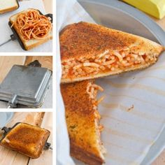"""Garlic Bread and Spaghetti Sandwich - Actually makes a lot of sense doesn't it? :)  Standard """"Grilled Cheese"""" instructions - but you can also use a Pie Iron, George Foreman Grill, Waffle Iron,... or a regular Iron lol :)"""