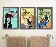 Printable Superhero Bathroom Decor Kids Signs Wall Art Toilet Rules