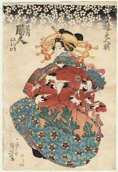 Courtesan and Kamuro by Kuniyoshi (1797 - 1861)