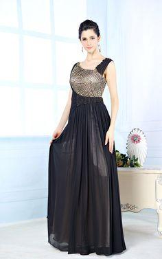 Black Modest Formal Long Evening Prom Dress