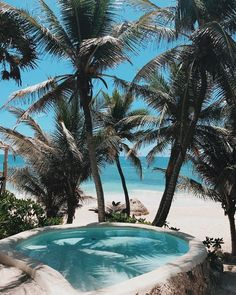 whirlpool I tropical I palm trees I pool I beach I blue water I ocean view I chill I relaxation I relax I white sand I sand I beach I Tulum Mexico, The Places Youll Go, Places To Visit, Beach Aesthetic, Summer Aesthetic, The Beach, Beach Pool, Dream Vacations, Vacation Travel