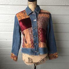 Patchwork Boho Jacket Great condition, heavier piece. J. Jill Jackets & Coats Jean Jackets