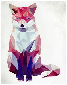"""Geometric Fox"" - Graphic Limited Edition Art Print by Keri Chubb. Geometric Fox, Geometric Drawing, Geometric Shapes, Domino Art, Art And Illustration, Triangle Art, Polygon Art, Origami, Tatoo"