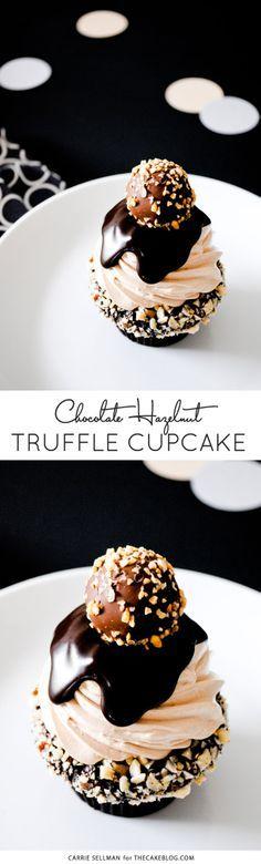 Chocolate Hazelnut Truffle Cupcake | dark chocolate ganche with hazelnuts, topped with milk chocolate buttercream, more ganache and a hazelnut crunch...