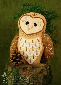 Looking for your next project? You're going to love Felt Barn Owl Plushie Pattern  by designer Squishy-Cute Designs.