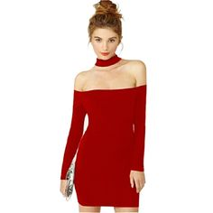 Дешевое S xxl красный черный холтер шеи мода платье женщины 2015 новый длинным рукавом с плеча клуб сексуальное платье женщина одежда платье халат, Купить Качество Платья непосредственно из китайских фирмах-поставщиках:            S-XXL Красный Черный Холтер шеи платье женщины                           Новые длинные