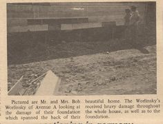 The Worlinsky's assessing damage to their home on Avenue A, including the foundation.  June 1972 - Aftermath of Hurricane Agnes.