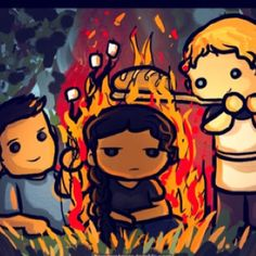 Gale, Peeta, and the Girl on Fire (Katniss)