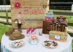Awesome dessert table at a cowgirl birthday party! See more party ideas at CatchMyParty.com!