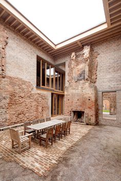 The Dining room at Astley Castle. Now the fortified remains of Astley Castle near Nuneaton in Warwickshire have been declared the best building of the year – winner of the 2013 Riba Stirling prize. Architecture Renovation, Interior Architecture, Interior And Exterior, Grange Restaurant, Patio Design, House Design, Future House, Brick, New Homes