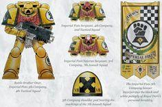 Warhammer 40k Art, Warhammer 40k Miniatures, Space Marine, Company Banner, Marine Colors, Imperial Fist, Angel Of Death, The Grim, War Hammer