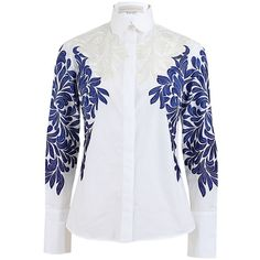 Stella McCartney Embroidered Hidden Button Blouse ($1,495) ❤ liked on Polyvore