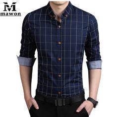 Más del tamaño 5XL nuevo 2015 de la tela escocesa Chemise Homme para hombre camisas de vestir Slim Fit manga completa Casual camisas de hombre Camisa sociales MC237
