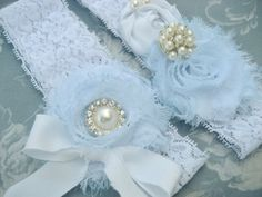 Vintage Blue Bridal Garter Set Toss Garter included Blue and White with Pearls and Fiery Rhinestones Custom Wedding colors