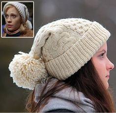 Free Knitting Pattern for Elf: Jovie Hat - Bezzi's cabled toque is inspired by the scene where Jovie is with the crowd in Central Park while Buddy and Santa are escaping the Central Park Rangers. Jovie leads the crowd in singing Santa Claus is Coming To Town while wearing a beautiful cabled stocking cap. Pictured project by Triknittyknots who made a few modifications.