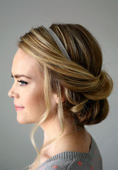 """""""Wrapped Headband Updo"""" with long loose tendrils framing the face."""