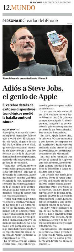 Adiós a Steve Jobs, el genio de Apple. Publicado el 06 de octubre de 2011.