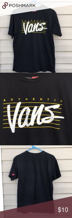 """Van's Classic Men's Black Short Sleeve Tee Shirt Nice black tee shirt with yellow striped front with""""authentic """" and Vans in large white letters. 100% cotton, slight fading , no stains,snags, or holes. Vans Shirts Tees - Short Sleeve"""