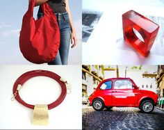 red teddy bear by Brigitta on Etsy featuring red hobo bag for everyday use by shooohsBags