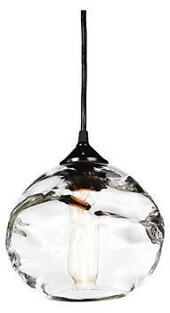 Hennepin Made Globe Pendant - Pendants - Lighting - Room & Board - this works well with the bubbled glass in your kitchen cabinets. Glass Pendant Light, Pendant Chandelier, Globe Pendant, Glass Pendants, Pendant Lighting, Interior Lighting, Home Lighting, Kitchen Lighting, Lighting Design