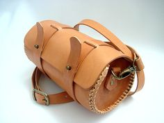 Hand Braided Leather Round Pouch  Natural Veg by leathermind, $149.00