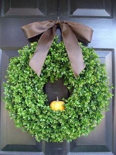 Boxwood Fall Wreath with Fruit, Fall Wreaths Autumn Harvest, Thanksgiving Fall Wreath Personalize with Ribbon Pumpkin, Apple, Burlap Bow. $70.00, via Etsy.