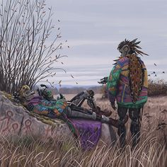paulreinwand:simonstalenhag:THE VAGABONDSMeet the Vagabonds - refugees from the 1994 robot pogrom in Russia. Quite obsessive about anything organic and expressive - feathers, fur, cloth and bright colors: exotic concepts for beings with hearts made of metal, plastic and epitaxial graphene. From simonstalenhag.segsus…