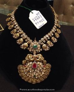 Gold Antique Necklace Designs From P. Antique Jewellery Designs, Gold Jewellery Design, Gold Jewelry, Designer Jewellery, Ruby Jewelry, Gold Necklaces, Diamond Jewelry, Traditional Earrings, Antique Necklace