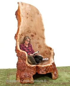 Carved Log Tree Chair Available at Woodland Creek #LogFurniture #woodworkathome