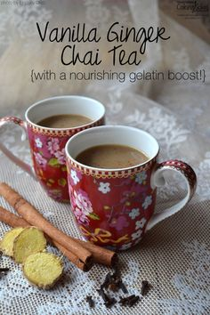 Vanilla Ginger Chai Tea | In recent years, I've avoided vanilla chai drinks because of the caffeine and sugar. Then I happened up on this warm, soothing, nourishing, mug-worthy morning drink, and I include gelatin for a nutritional boost. If you like chai, I believe you will love this as much as I do! | TraditionalCookingSchool.com