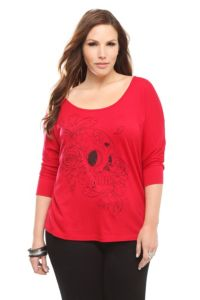 Twist Tees - Red Floral Skull Graphic Dolman Tee | Tops