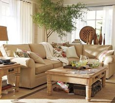 Several different photos of accessorized sectionals--where, what type, & how many pillows to use