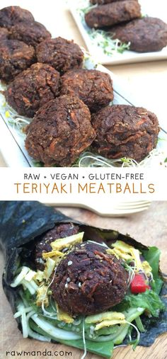 """Teriyaki Meatballs + Burgers - These plantbased """"meatballs"""" are the total package: gluten-free, raw and vegan!! Serve with pasta, salad or in a sandwich. They're also perfect for a savory snack or appetizer. @rawmanda"""