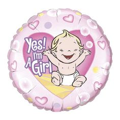 Folie ballon Yes I am a girl. Folie ballon voor de geboorte van een meisje. De ballon is ongeveer 45 cm groot. Deze folie ballon wordt gevuld met helium geleverd en kan derhalve niet worden geretourneerd.