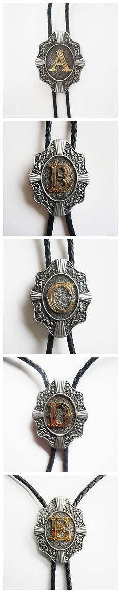 Bolo ties for men with letter designs. From A to Z, which one do you want? Pretty cool right?
