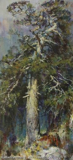 "Old Pine Tree - oil, canvas, 33.5"" x 11.8"", Vasendin Yury"
