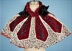 Deep Ruby Velvet, Lace And Jet Beaded Caplet - A. Walles, 15 Rue Auber 15, Paris   c.1895