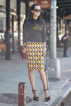 8f6eb3f75007 Fall look..love the pairing of the long skirt with the sweatshirt! Work