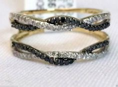 10kt Yellow Gold Wave Design Solitaire Enhancer Black Diamonds Ring Guard Wrap Jacket (0.33ct. tw)...(RG321505850104).! Price: $404.99 #gold #diamonds #ringguard #wrap #enhancer #fashion #jewelry #love #gift