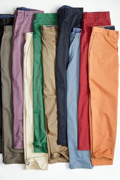 Johnston & Murphy's Chinos are made with Pima cotton twill that's garment-washed-making them feel soft from day one. Fashion Jobs, Fashion Wear, Fashion Outfits, How To Sell Clothes, Clothes For Women, Bright Pants, Levis, Mens Jogger Pants, Casual Outfits
