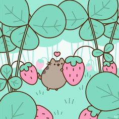 Pusheen and strawberrys