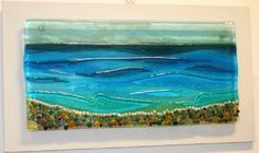 Pebble Seascape - Fused Glass Panel on Board by Nicky Exell (PIC100)