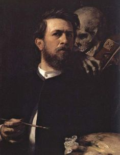 Arnold Bocklin Self-Portrait with Death 1872