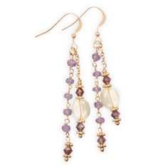 14 Karat Gold Tanzanite and Citrine Drop Earrings