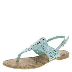 This versatile sandal can be worn with shorts, capris, or your favorite sundress. It features a faux patent upper with chopout design, adjustable ankle straps, smooth lining, padded footbed, and a flexible outsole. Manmade materials.