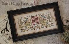With Thy Needle and Thread Brick House Sampler - Cross Stitch Pattern. Model stitched over 1 thread on 28 Ct. Mushroom Lugana with Weeks Dye works floss, Gentle Cross Stitch Samplers, Cross Stitch Kits, Counted Cross Stitch Patterns, Cross Stitch Designs, Cross Stitching, Cross Stitch Embroidery, Hand Embroidery Patterns, Vintage Embroidery, Embroidery Designs