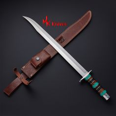 Fantasy Sword, Fantasy Weapons, D2 Steel, Tool Steel, Swords And Daggers, Knives And Swords, Cutlass Sword, Sword Sheath, Pretty Knives