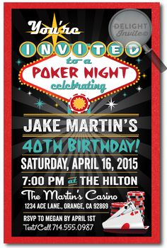 Casino Night Poker Party 40th Birthday Invitations, professionally printed on metallic paper and artfully hand-mounted on thick metallic red 120# card stock. These poker party invites are perfect for a 40th birthday celebration!