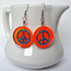 Peace sign earrings  orange peace sign by sparklecityjewelry